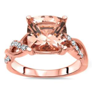 2 1/5 TGW Cushion Cut Morganite Diamond Engagement Ring Rose Gold - Custom Made By Yaffie™