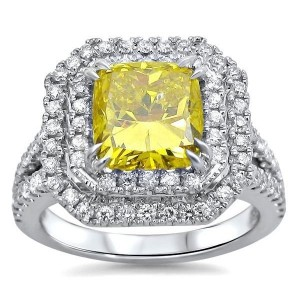 2 3/4 Canary Yellow Cushion Cut Diamond Engagement Ring White Gold - Custom Made By Yaffie™