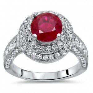 2ct TGW Ruby Diamond Double Halo Engagement Ring White Gold - Custom Made By Yaffie™