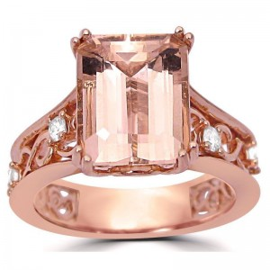 3 1/6 ct TGW Emerald Morganite Diamond Engagement Ring Vintage Style Rose Gold - Custom Made By Yaffie™