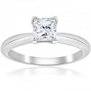 Platinum 1 ct TDW Princess Cut Diamond GIA Certified Solitaire Engagement Ring - Custom Made By Yaffie™