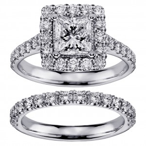 Platinum 2 3/5ct TDW Diamond Halo Bridal Ring Set - Custom Made By Yaffie™