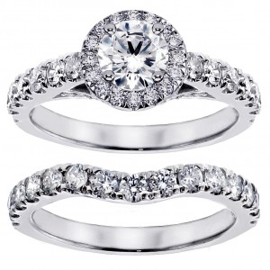 Platinum 3ct TDW Round Diamond Bridal Ring Set - Custom Made By Yaffie™