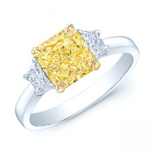 Platinum and Gold 2 1/10ct GIA-certified Fancy Light Yellow Diamond Ring - Custom Made By Yaffie™