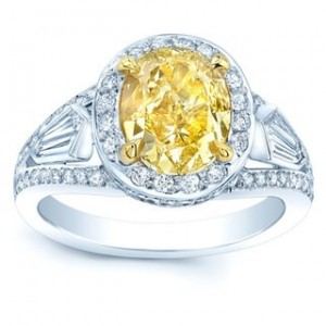 Platinum and Gold 3 3/5ct TDW Fancy Yellow Diamond Gia-certified Engagement Ring - Custom Made By Yaffie™