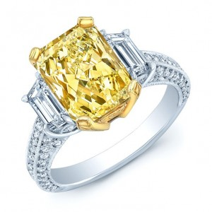 Platinum and Gold 3 5/8ct Fancy Light Yellow Diamond Ring - Custom Made By Yaffie™