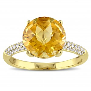 Round Checkered Citrine and 1/5ct TDW Diamond Engagement Ring in Gold by The Signature Collection - Custom Made By Yaffie™