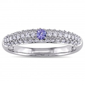 Round-Cut Tanzanite and 1/2ct TDW Diamond Promise Ring in White Gold by The Signature - Custom Made By Yaffie™