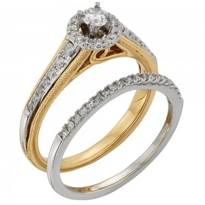 Two-tone Gold 1/2ct TDW Round Diamond Bridal Set - Custom Made By Yaffie™