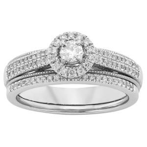 White Gold 1/2ct TDW White Diamond Bridal Set - Custom Made By Yaffie™