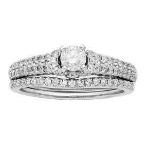 White Gold 1ct TDW IGL Certified Round Cut Bridal Set - Custom Made By Yaffie™