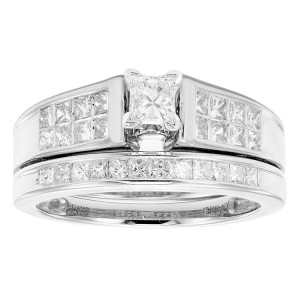 White Gold 1ct TDW Princess Cut Bridal Set - Custom Made By Yaffie™