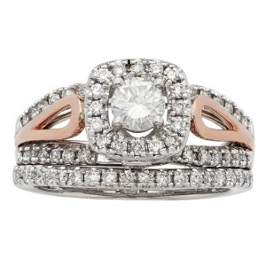White and Rose Gold 1ct TDW Round Cut Bridal Set - Custom Made By Yaffie™