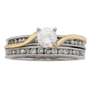 White and Gold 1ct TDW Round Cut Bridal Set - Custom Made By Yaffie™