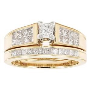 Gold 1ct TDW Princess Cut Bridal Set - Custom Made By Yaffie™