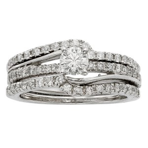 White Gold 1ct TDW Diamond Bridal Set - Custom Made By Yaffie™