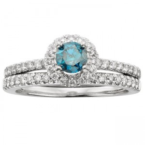 White Gold 1ct TDW IGL Certified Blue Diamond Halo Bridal Set - Custom Made By Yaffie™