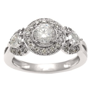 White Gold 1ct TDW IGL Certified Diamond 3-stone Vintage Ring - Custom Made By Yaffie™
