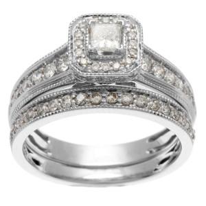 White Gold 1ct TDW IGL Certified Princess Cut Diamond Bridal Set - Custom Made By Yaffie™