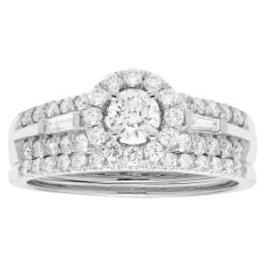 White Gold 1ct TDW Round Diamond Bridal Set IGL Certified Ring - Custom Made By Yaffie™