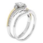 Gold 1-ct TDW H-I,I1 IGL Certified Round-cut Bridal Set - Custom Made By Yaffie™