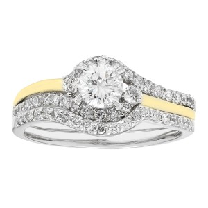 Gold 1-ct TDW H-I,I1 IGL Certified Round-cut Bridal Set - Custom Made By Yaffie™