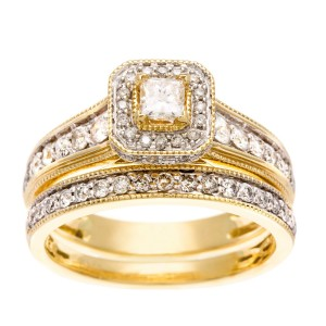 Gold 1ct TDW IGL Certified Diamond Bridal Ring Set - Custom Made By Yaffie™