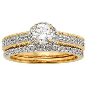 Yellow Two-tone Gold 1 1/2ct TDW IGL Certified Round Diamond Bridal Set - Custom Made By Yaffie™