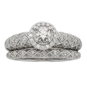 Art Deco White Gold 1ct TDW IGL Certified Princess-cut Diamond Bridal Set - Custom Made By Yaffie™