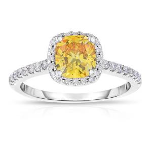White Gold 1 1/2ct TDW Cushion-cut Lab-grown Diamond Halo Ring - Custom Made By Yaffie™