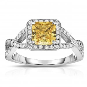 White Gold 1 1/3ct TDW Radiant-cut Lab-grown Diamond Halo Ring - Custom Made By Yaffie™