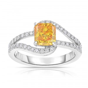 White Gold 1 5/8ct TDW Radiant-cut Lab-grown Diamond Swirl-inspired Ring SI - Custom Made By Yaffie™