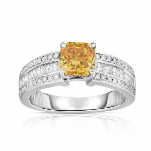 White Gold 2 1/4ct TDW Fancy Yellow Radiant-cut Lab-grown Diamond Ring - Custom Made By Yaffie™