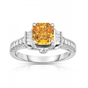 14kt White Gold 2ct TDW Radiant Cut Lab-Grown 3-sided Diamond Ring - Custom Made By Yaffie™
