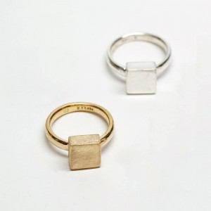 Solid Square Gold Signet Ring - Geometric - Solid Gold Ring - Custom Made By Yaffie™