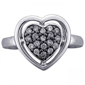 Sterling Silver 1/4ct TDW Diamond Heart Ring by Ever One - Custom Made By Yaffie™