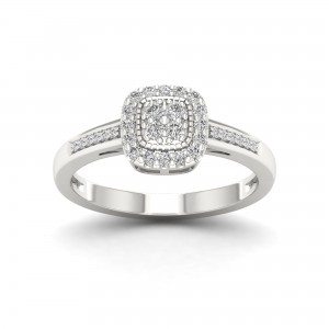 Sterling Silver 1/5ct TDW Diamond Cluster Ring - Custom Made By Yaffie™