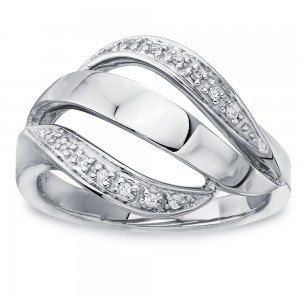 Sterling Silver Diamond Accent Ribbon Ring by Ever One - Custom Made By Yaffie™