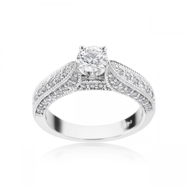 White Gold 1ct TDW Diamond Antique Style Engagement Ring - Custom Made By Yaffie™