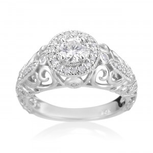 White Gold 3/4ct TDW Diamond Vintage-style Engagement Ring - Custom Made By Yaffie™