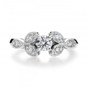 White Gold 4/5ct Round-cut Diamond Vintage-inspired Engagement Ring - Custom Made By Yaffie™