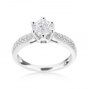 White Gold 7/8ct TDW Diamond Engagement Ring - Custom Made By Yaffie™