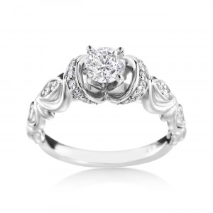 White Gold Vintage-Styled 3/4ct TDW Diamond Engagement Ring - Custom Made By Yaffie™