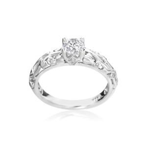 SummerRose, white gold 5/8ct TDW Diamond Engagement Ring - Custom Made By Yaffie™