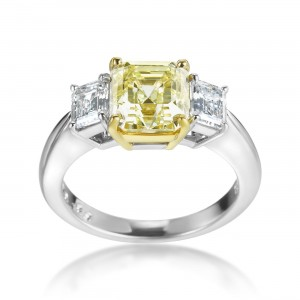 White Gold and Platinum Yellow and White Diamond 3.55ct TDW Ring - Custom Made By Yaffie™