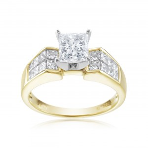 SummerRose, One of a Kind Two Tone Princess Cut Diamond Ring - Custom Made By Yaffie™