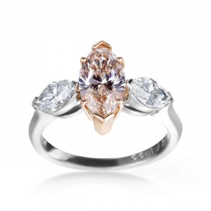Platinum, Rose Gold 2 3/5ct GIA Certified Yellow-Brown and White Diamond 3-stone Engagement Ring - Custom Made By Yaffie™