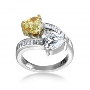 Platinum 3 1/5 TDW White and Yellow Diamond Double Heart Ring - Custom Made By Yaffie™