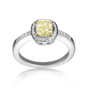 Platinum/Gold 1 1/4ct TDW Intense Yellow Diamond Ring - Custom Made By Yaffie™