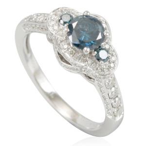 White Gold & Blue Diamond 3-Stone Pave Halo Bridal Engagement Ring - Custom Made By Yaffie™
